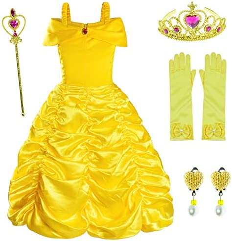 Princess Costume for Girls Birthday Party Fancy Dress Up with Accessories Crown Wand Earrings product image