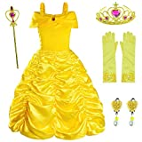 Princess Costume for Girls Birthday Party Fancy Dress Up with Accessories(Crown+Wand+Earrings+Gloves) Yellow