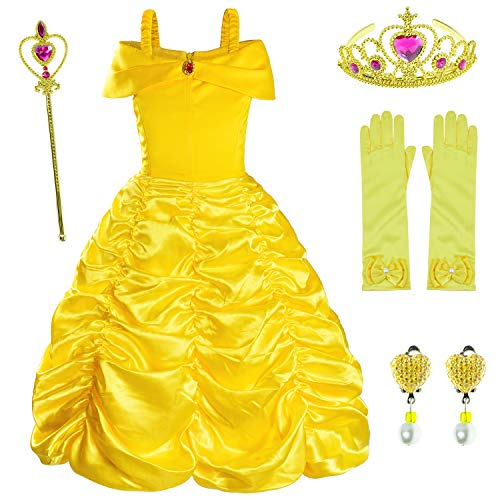 Princess Costume for Girls Birthday Party Fancy Dress Up with Accessories(Crown+Wand+Earrings+Gloves) 4-5 Years Yellow