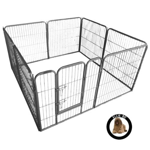 Ellie-Bo Heavy Duty Modular 8 Piece Indoor Puppy Exercise Play / Whelping Pen 26 square feet floor...