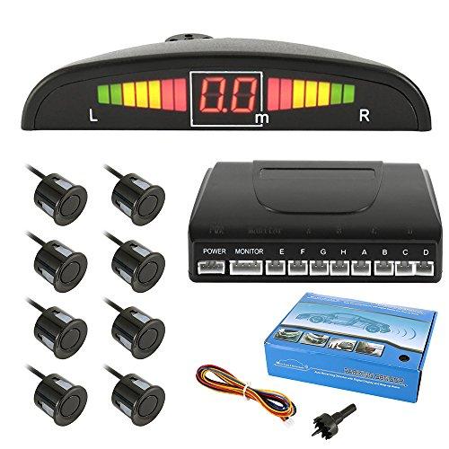 liuzhuo 高性能 バックセンサー 12V車用 パーキングセンサー アラームモニター付き LEDパネル8個高敏感パッ...