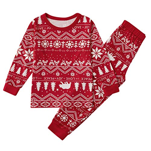 STORTO Family Pajamas Matching Sets Matching Christmas PJs with Deer Tree Printed Pants Long Sleeve Xmas Sleepwear