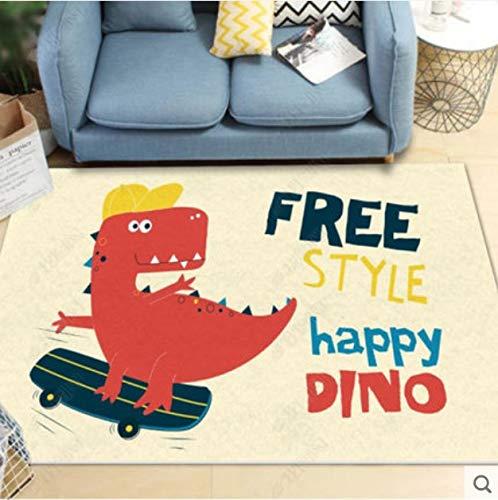 YAN Teppich Niedlichen Dinosaurier Kinderzimmer Wohnzimmer Schlafzimmer Sofa Tisch Und Stühle Feuchtigkeitsbeständige Bodenmatte Halle Küche Küche Rutschfester Hellgelber Teppich 140 * 160 cm