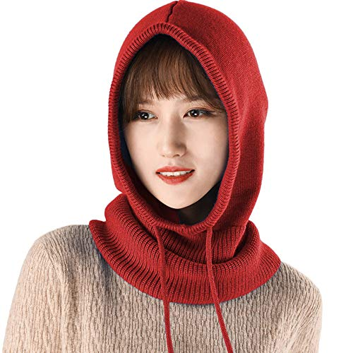 MLEBR Winter Merry Christmas Holiday Winter Knitted Men Women Scarf Skullies Beanies Hats Neckerchief with Drawstring Hooded Red