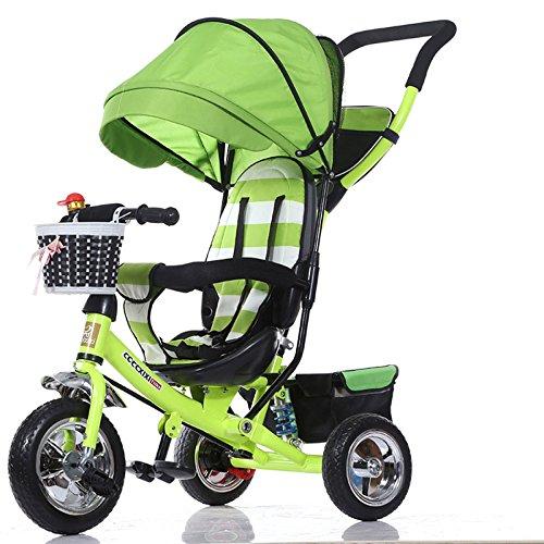 TH - Dreirädriger Kinderwagen Dreirad Tricycle Für Kinder, 4 In1 Faltbar Mit Abnehmbarem Schiebegriff, Gummirad, Markise, 1-6Jahre,Green