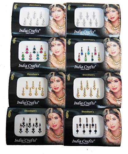 8 Packs- 56 Bindis Combo of Silver/Gold/Black/Multicolored Face Jewels Bollywood tika