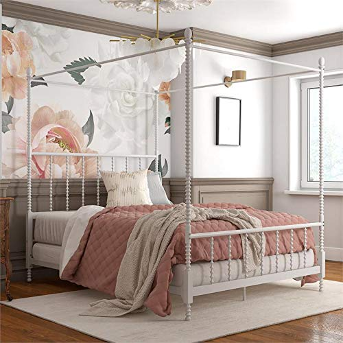 Pemberly Row Parisian Style Design Metal Canopy Bed in Full Size Frame in White