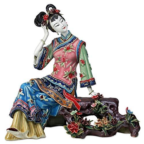 JYJYJY Scultura I dodici Fiori della Camera Rossa Il Sogno dell'apprezzamento, Jinling, Jia Xichun, Scultura in Ceramica, Decorazione Domestica in Stile Cinese