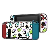 Dockable Case Compatible with Nintendo Switch Console and Joy-Con Controller, Patterned ( Cute Cartoon Penguin Dancing ) Protective Case Cover with Tempered Glass Screen