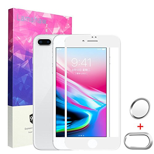 iPhone 8 Plus Screen Protector,Lamshaw 9H Full Coverage Tempered Glass Screen Protector With Home Button Sticker-Touch ID Button and Camera Lens Protective Case for Apple iPhone 8 Plus(5.5 White)