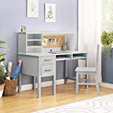 Guidecraft Taiga Desk, Hutch and Chair - Gray: Kids Home and Classroom Furniture with Multiple Storage Shelf & Two Drawers