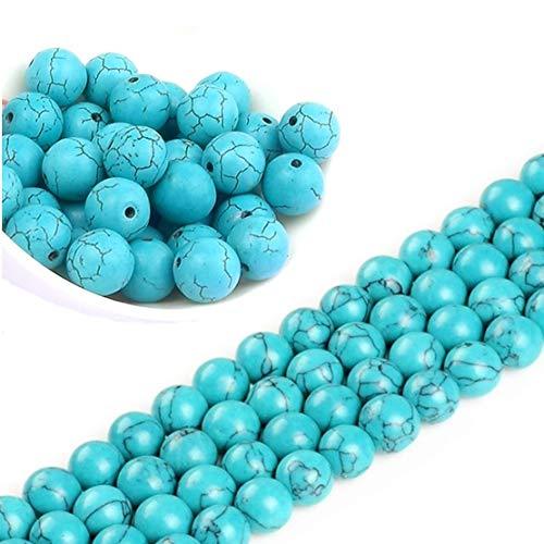 Türkis Edelstein Strang Perlen 4mm Perlenkette 90 Stück Halbedelstein Edelsteine Perle mit Loch zum auffädeln Schmuckperlen Schmuckstein für DIY Kette Basteln G39