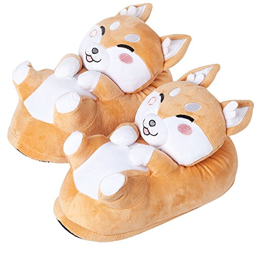 corimori Süße Plüsch Hausschuhe (10+ Designs) Shiba Inu Akito Slipper Einheitsgröße 34-44 Unisex Pantoffeln Beige