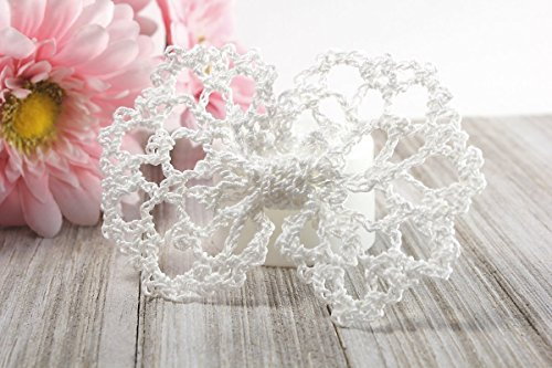Hair Bow Clip - White Lace by StitchnTyme
