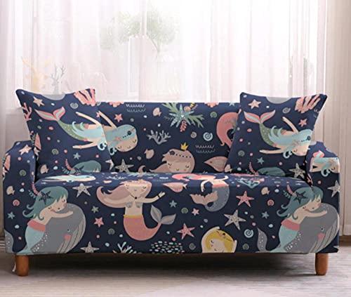 Funda de sofá de 4 Plazas Funda Elástica para Sofá Poliéster Suave Sofá Funda sofá Antideslizante Protector Cubierta de Muebles Elástica Sirena Colorida Funda de sofá
