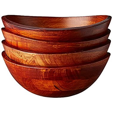 Lipper International 293-4 Cherry Finished Wavy Rim Serving Bowls for Fruits or Salads, Matte, Small, 7.5  x 7.25  x 3 , Set of 4 Bowls