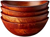 Lipper International 293-4 Cherry Finished Wavy Rim Serving Bowls for Fruits or Salads, Matte, Small, 7.5' x 7.25' x 3', Set of 4 Bowls
