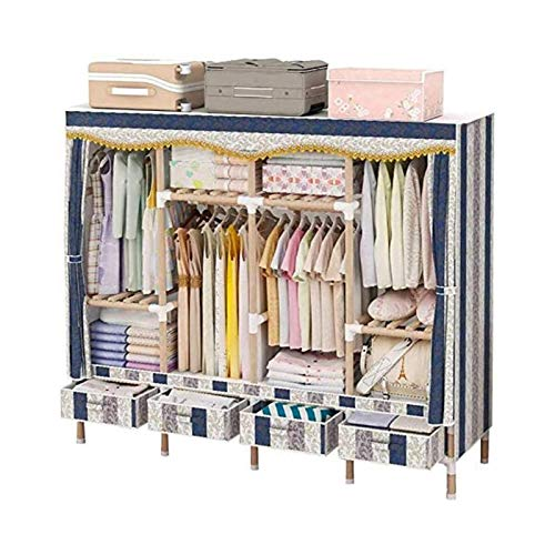 66 Inch Wardrobe Storage Closet with 4 Drawers,Portable Closet Organizer with Non-Woven Fabric Or Oxford Cloth And Hanging Rod, Quick And Easy To Assemble,Extra Strong And Durable,blue A