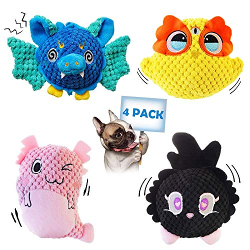 Squeaky Dog Toys, Puppy Teething Chew Toys Pack, Cute Soft Stuffed Animals Plush Toy with Crinkle Paper and Squeaker, for Small and Medium Dogs