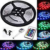 SUPER BRIGHTNESS: High Quality 3582 SMD RGB LED Light,High intensity and reliability, 300 LEDs, Long lifespan >50,000 hours. COLOR CHANGING: Light strip with 24keys IR remote controller for the led tape can fit your all changing demand. SAFETY & WATE...