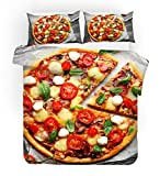 F FANAIJIA Pizza Duvet Cover Set Food Print Bedding Sets Queen Size Luxury Hamburger Bed Set Twin/Full/King Size (NO Comforter) (A,Twin)