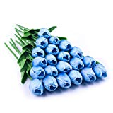 JUSTOYOU 20 Piezas Real Touch Artificial Látex Tulipanes Flores Tulipanes Falsos Flores Ramos de Boda para Boda Hogar Jardín Decoración Azul Claro