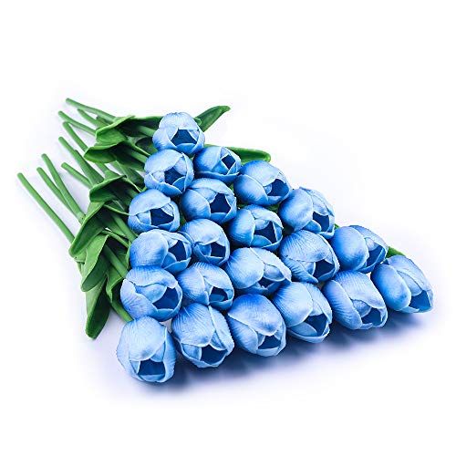 JUSTOYOU 20 STK PU Real Touch Latex Künstliche Tulpen Gefälschte Tulpen Blumen Blumensträuße Blumen Arrangement für Home Room Hochzeitsstrauß Party Herzstück Dekor Hellblau