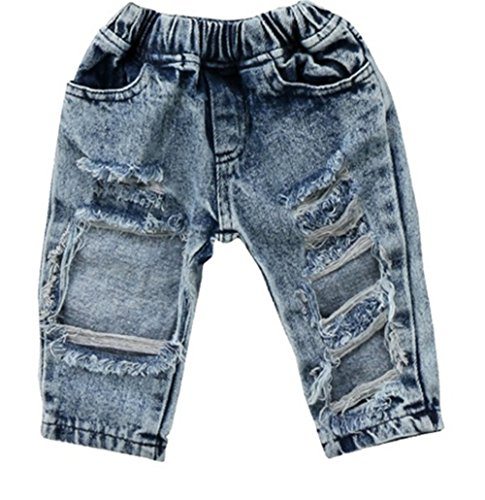 FriBabyfat Toddler Newborn Baby Boys Girls Causal Elastic Waist Destroyed Ripped Jeans Pants (0-6 Months, A)