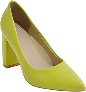 Womens Solid Color Pointed Toe Block Pump