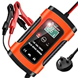 NWOUIIAY Car Battery Charger 6A 12V Fully Automatic Battery Charger & Maintainer Smart Automotive Battery Charger with UK Plug for Charging Car, Motorcycle and more (AGM, GEL, MF, SLA, VRLA) , Red