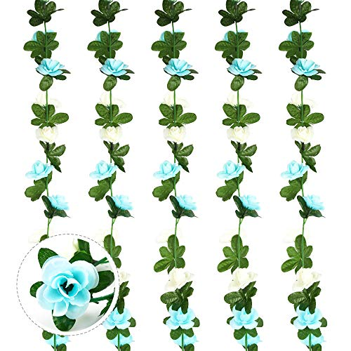 5PCS 2.7M Artificial Fake Rose Garland Vines Hanging Silk Flowers Artificial Flower Garland with Green Ivy Leaves for DIY Home Outdoor Wedding Party Garden Wall Decoration (Blue and White)