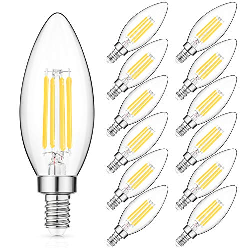 E12 Candelabra Bulb 40W Equivalent, Daylight White 4000K Chandelier LED Filament Light Bulbs, 4W Decorative B11 Clear Glass Candle Lighting, Non-dimmable, Pack of 12