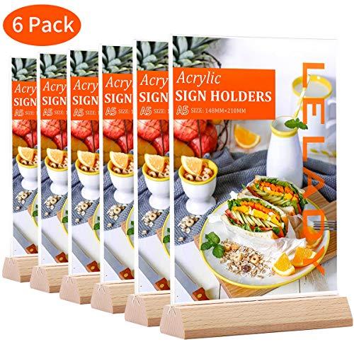 LELADY 6 Stück Din A5 Ständer Tischaufsteller schräg, Werbeaufsteller Glasklar Acryl, Doppelseitig T-Ständer, Menükartenhalter für Speisekarten, Tischkarten, Fotorahmen & Werbung