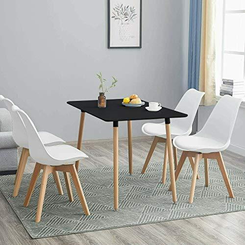 KOSY KOALA Juego de mesa de comedor y 4 sillas de madera estilo retro rectangular juego de comedor blanco negro y gris mesa de cocina (mesa negra con 4 sillas blancas)