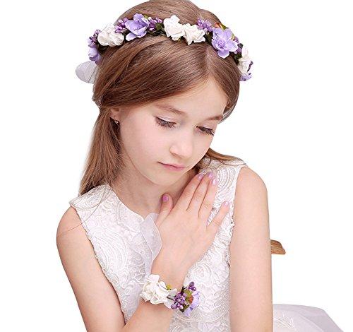 KSDN Boda Flor Niñas Headpiece Halo Garland corona de pelo con banda de muñeca lila