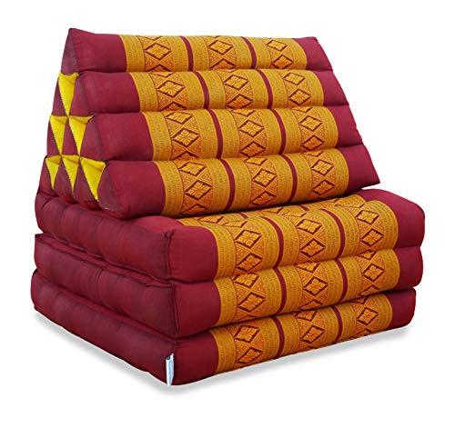 livasia Thaikissen mit 3 Auflagen, Kapok Dreieckskissen, Sitzkissen, Liegematte, Thaimatte (rot/gelb)