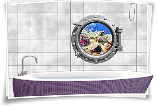 Tegelsticker, tegelafbeelding, tegels, patrijspoor, vissen, water, zee, aquarium, bad 60x60cm