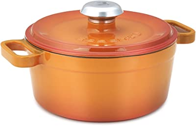 Essenso Chambery 3 Layer Enameled Orange Cast Iron Dutch Oven 4 qt