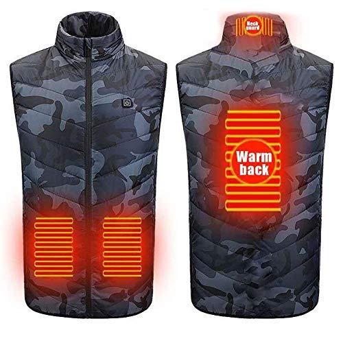 Chaleco calefactable, chaleco calefactable ligero, unisex,Chaleco calefactor de calentamiento de invierno, chaleco con calefacción eléctrica de carga USB, chaqueta cálida para acampar al aire lib