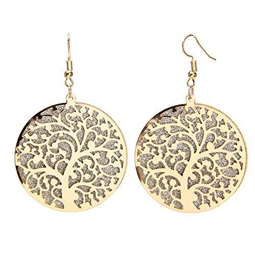 LLXXN Hollow Tree Earrings Ornaments Frosted Earrings