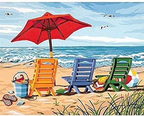 Boutiquespace Malen nach Zahlen Strandkorb DIY Leinwand Ölgemälde Kit Erwachsene Kinder und Anfänger und Kunst Home Decoration - Ohne Rahmen 16 x 20 Zoll