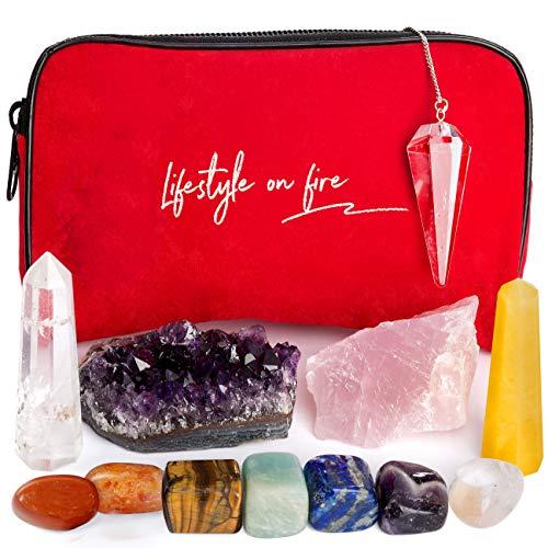 Natural Chakra Crystals and Healing Stones Kit - Amethyst Crystal, Rose Quartz, Lapis Lazuli, Clear Quartz Obelisk – Chakra Crystals for Reiki, Meditation –30 pg Ebook, Velvet Pouch,Keychain Included!