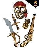 GIFTEXPRESS 5-piece Halloween Pirate Costume Accessories for Kids, Pirate Role Play Set/Halloween Costumes for Boys/Pirate Paraphernalia (Pirate Sword, Compass, Dagger, Mask, Gun)