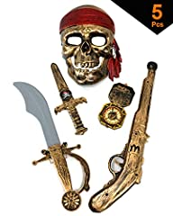 5 piece pirate costume set: Pirate Kit Comes With Sword, Compass, Dagger, Mask, Gun Flintlock Pistol Has Real Working Trigger That Makes Noise All Pieces Painted To Look Like Real Worn Metal Skull Mask Has Painted on Red Bandana Rotating Compass Mark...