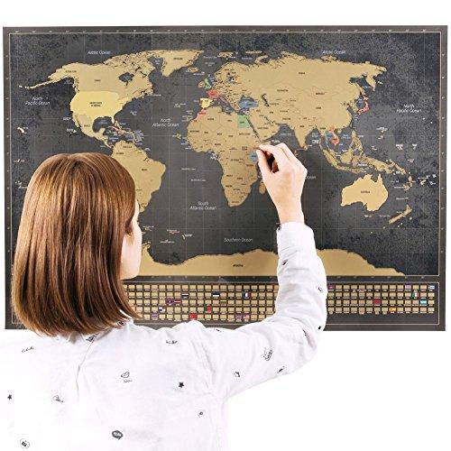 Rubbel Weltkarte (Deutsch) +A4 Rubbelkarte von Deutschland (Schwarz 84 x 58 cm)