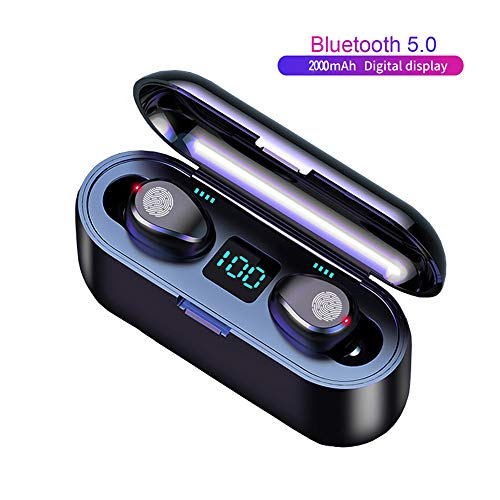 TWS Wireless Earbuds, CRUA Bluetooth 5.0, Hi-Fi Sound, IPX5 Waterproof,Portable 2000mAh Charging Box,in-Built Mic,Touch Control Earphones, Single/Twin Mode Compatible with Android & iOS