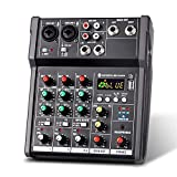 N&W Audio Mixer 4-Channel USB Mixing Console Digital Audio Mixer Supports BT Connection Easy Monitoring and Operation (Color : Black Size : One Size)