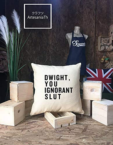 Toll2452 Dwight You Ignorant Slut Funda de Almohada con Cita en inglés «The Office Quote»