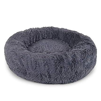 lionto by dibea Cama perros redonda cojín gatos sofá para perros donut (L) Ø 60 cm Gris oscuro
