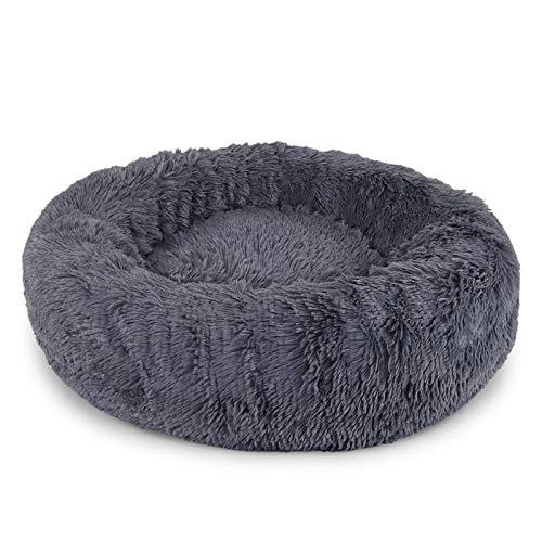 Dibea Cama Perros Redonda cojín Gatos sofá para Perros Donut Ø 70 cm (XL) Gris Oscuro